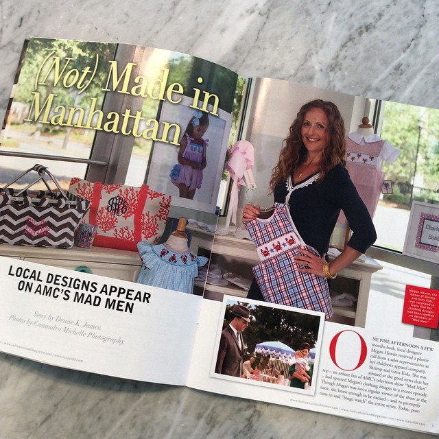 A recent magazine spread featuring Megan as owner/designer of Shrimp and Grits Kids.