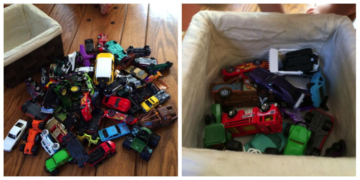 Too much stuff can cause confusion and the child doesn't learn to appreciate and respect what they have. These pictures show how a basket of little cars, which we find all over our house (really, my bed?!!), and chose half of the cars to stay. The other cars were loaded into a box and are going to be put in storage in the basement. We will rotate the cars in a few weeks once we notice our son is losing interest in this set of cars.