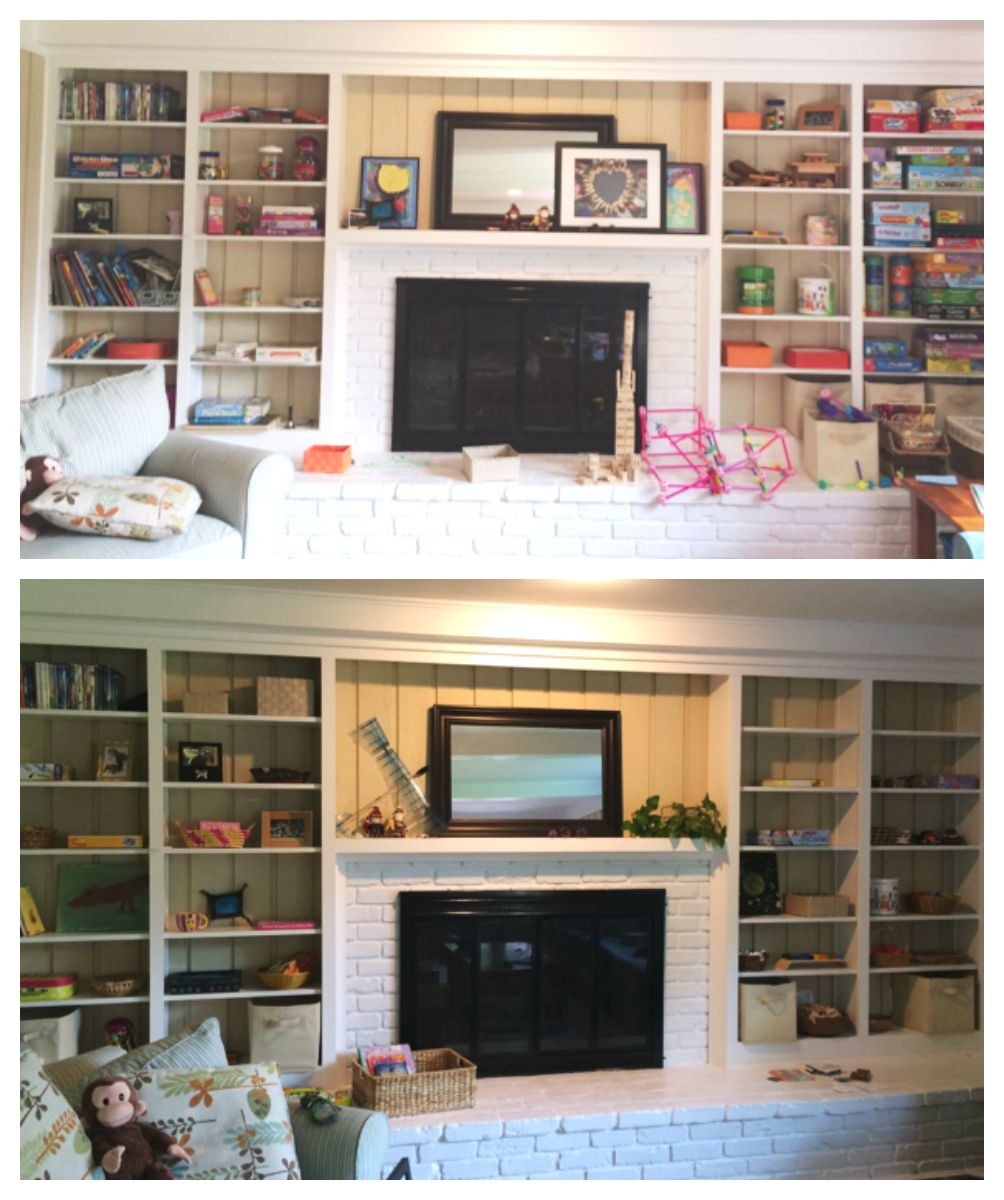 "These pictures were taken in a family room/play room I had the opportunity to work in. The family loves board games, books, building, and creating together. Our work was to simplify what you see in the left picture, giving each child their own space. We spent less than $15 in materials for this transformation! The picture on the right is the ""almost after""—they're going to live, play, create, and make changes as necessary. The mom was adding plants and some other pictures."