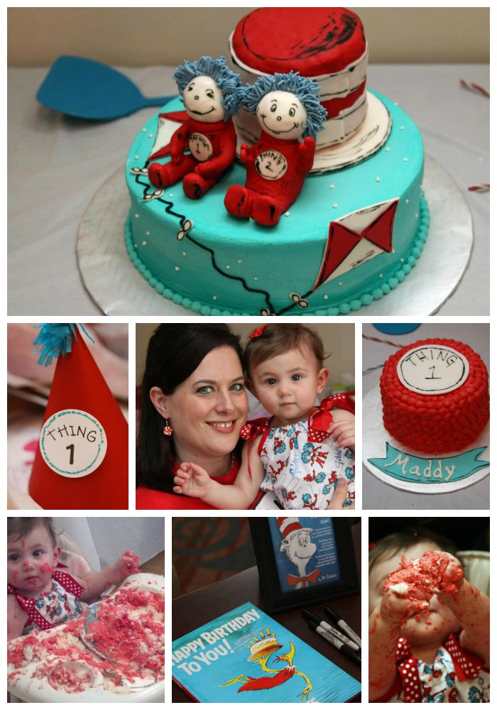 Courtney of Shiraz in My Sippy Cup chose a Dr. Seuss/Thing 1 and Thing 2 theme for her daughter Maddy's first birthday.