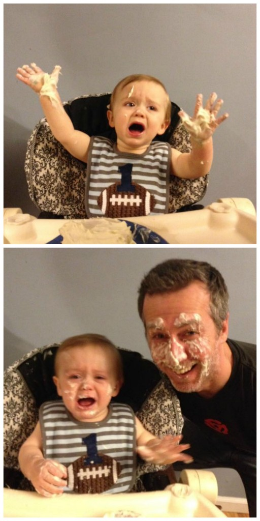 "Heather's son didn't appreciate her attempt at a ""healthy"" birthday cake. He was having none of it. But the pic with his daddy is priceless, right?"